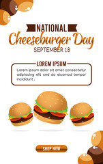 Vector graphic of national cheeseburger day good for national cheeseburger day celebration. flat design. flyer design.flat illustration.