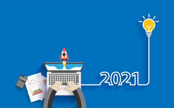Creative light bulb idea 2021 new year business start up ideas concept design, With businessman working on laptop computer PC, Top view from above vector illustration