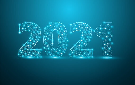 2021 new year text design with mesh stylish alphabet letters numbers, Graphic background communication structure with connected dots lines, Vector illustration