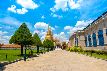 Temple of the Emerald Buddha or Wat Phra Kaew, Phra Aram Luang, special class Temple in the grand palace  ,Major attractions landmark of Bangkok Wall mural