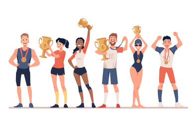 Diverse sportive people with award cups flat vector illustration isolated.