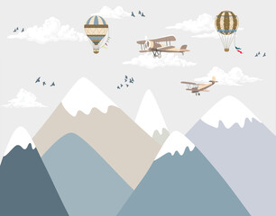 Wallpaper cartoon mountains and planes in the sky