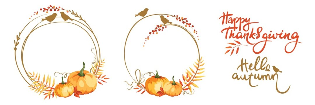 Frames for Thanksgiving Day or wedding invitation. Set vector design elements. Pumpkins, birds, yellowed leaves and red berries.