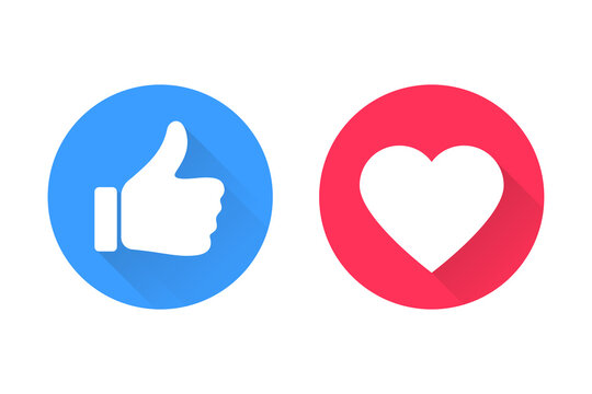 Thumbs and heart icon. Vector love and love icon. Like and like buttons ready for websites and mobile apps. Vector illustration