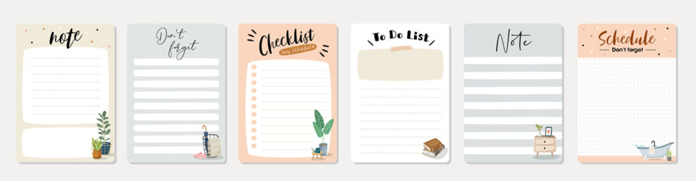 Set of planners and to do list with home interior decor illustrations. Template for agenda, schedule, planners, checklists, notebooks, cards and other stationery.