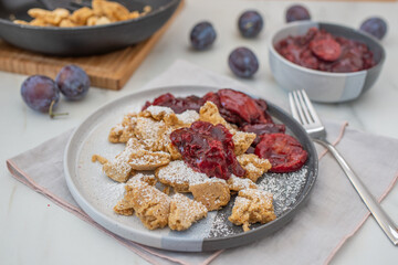 Kaiserschmarrn is a traditional Austrian or German sweet pancake dessert