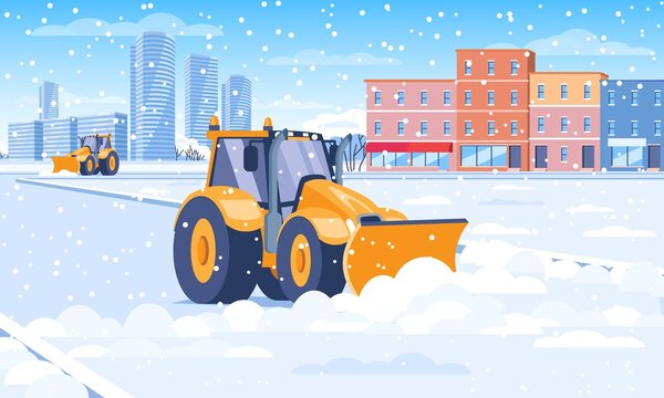 Snow plough clearing snow from a city street in winter in a concept of the seasons and transport, colored vector illustration