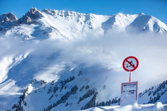 Closed slope in an alpine ski resort