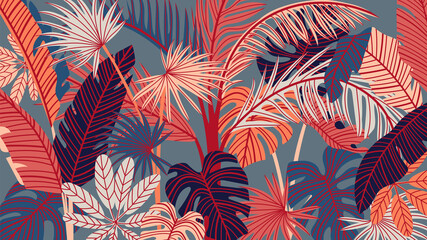 Tropical forest art deco wallpaper. Floral pattern with exotic flowers and leaves, split-leaf Philodendron plant ,monstera plant, Jungle plants line art on trendy background. Vector illustration. Wall mural