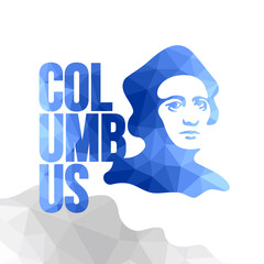Happy Columbus Day - vector picture for national holiday with polygonal texture