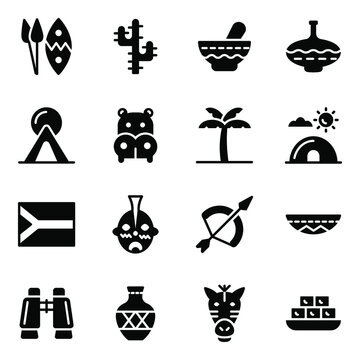 African Element Icons in Solid Style Pack