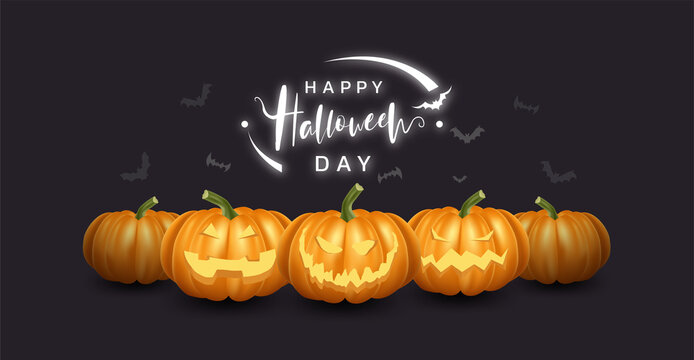 Collection of realistic pumpkin with happy and smile face. Halloween vector illustration.