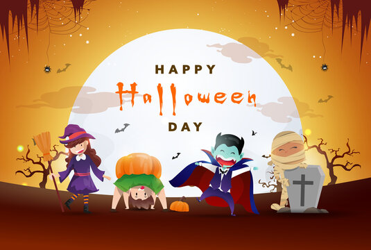 Happy Halloween Day background with the party of cute monsters.