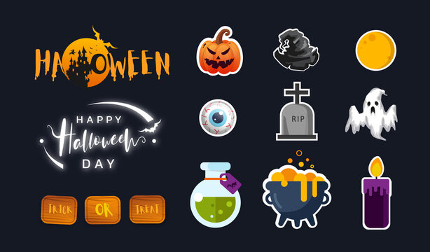 Collection of halloween icon in flat design. Cute icon design. Vector illustration.