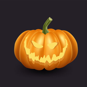 Realistic orange pumpkin icon. Halloween scary pumpkin with smile and happy face.