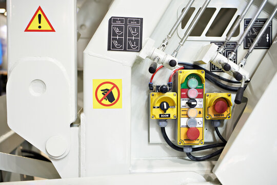 Buttons and levers of control panel garbage truck
