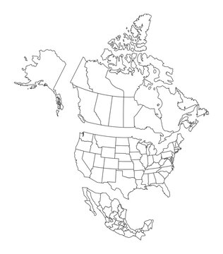 Blank map of North America, with separate Canada, Usa and Mexico