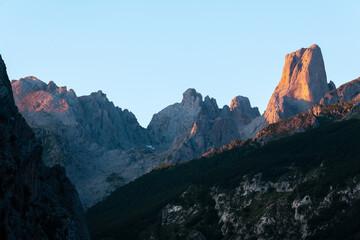 Naranjo de Bulnes, known as Picu Urriellu, from Camarmeña village at sunrise in Picos de Europa National Park, Asturias in Spain
