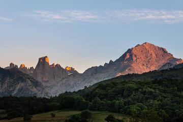 Naranjo de Bulnes, known as Picu Urriellu, from Pozo de la Oracion lookout point at sunset, Picos de Europa National Park in Asturias, Spain
