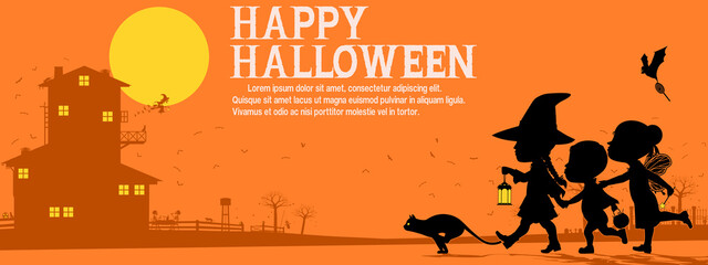 Many kids are traveling in the Halloween night. There are 3 unique layer (black,dark orange,yellow) on orange background. Easy to change color which you want