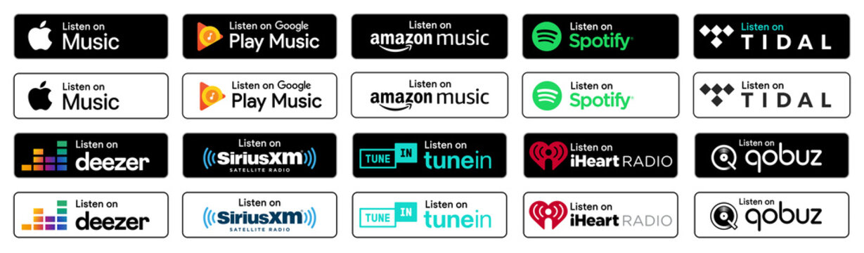 Popular Music streaming service listen on badges set. Flat design buttons with white and black background. Vector illustration EPS10