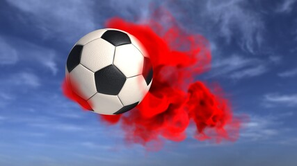 Football Red Smoke Sky