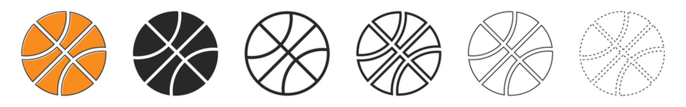 Basketball ball icons. Set of basketball balls isolated.