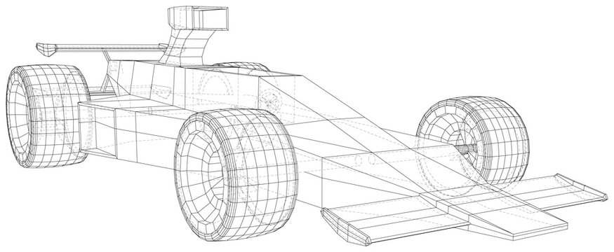 Model speed car. Abstract drawing. Wire-frame. EPS10 format. Vector created of 3d