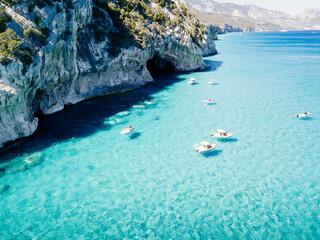 Cala Luna, coastline and caves with turquoise sea water, Orosei Gulf, Sardinia