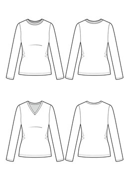 Set of two womans longsleeve t-shirts. Vector sketch