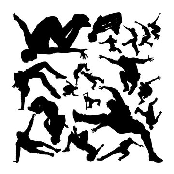 Parkour activity silhouettes. Good use for symbol, logo, web icon, mascot, sign, or any design you want.
