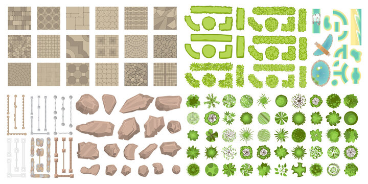 Set of park elements. (Top view) Collection for landscape design, plan, maps. (View from above) Fences, paths, stones and trees.