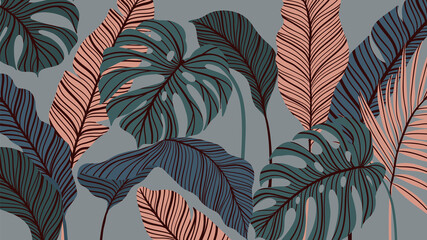 Tropical forest art deco wallpaper. Floral pattern with exotic flowers and leaves, split-leaf Philodendron plant ,monstera plant, Jungle plants line art on trendy background. Vector illustration.