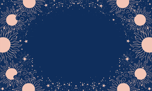 Magical blue background with sun or moon, place for text. Banner with stars, cosmic pattern for design in boho style, astrology. Doodle vector illustration