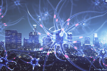 Double exposure of neuron drawing icon and cityscape background. Concept of education.