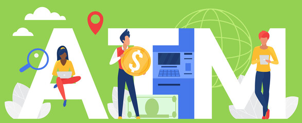 ATM word vector illustration. Cartoon flat people holding money cash gold coin, tablet and laptop for online payment bank service, standing next to big letters ATM and ATM machine concept background