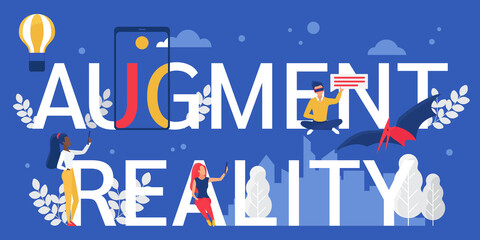 Augment reality lettering vector illustration. Cartoon flat augmented virtual tech reality concept with people in innovative vr glasses, holding tablet laptop. Future innovation technology background