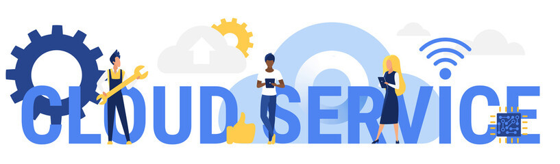 Cloud service word concept vector illustration. Cartoon flat customer user people using mobile devices for networking, standing next to big letters, modern cloud network technology isolated on white