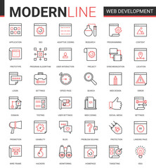 Web development thin red black line icon vector illustration set. Outline website mobile app developing symbols collection of optimization for webpage content, user interface design application
