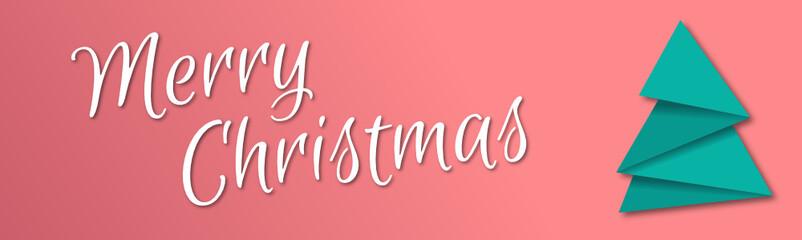 Merry Christmas Banner mit Origami Tannenbaum