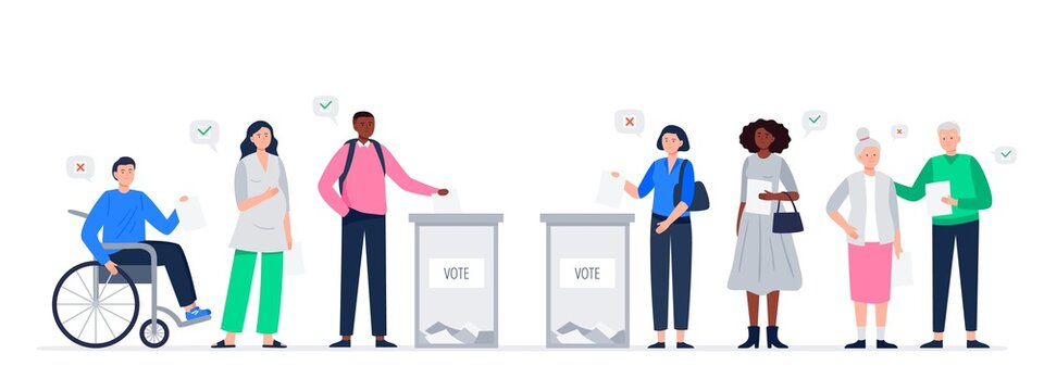 Election day concept. Different voters casting ballots at the polling place. Men and women putting paper ballots to election box. Democratic election. Vector flat illustration.