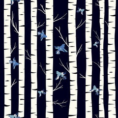 Birch grove seamless pattern, vector background with hand drawn birch trees and flying birds