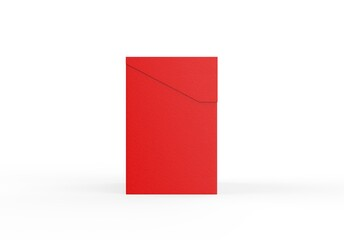 Red paper box on isolated white background, closed red tea box mockup, 3d illustration