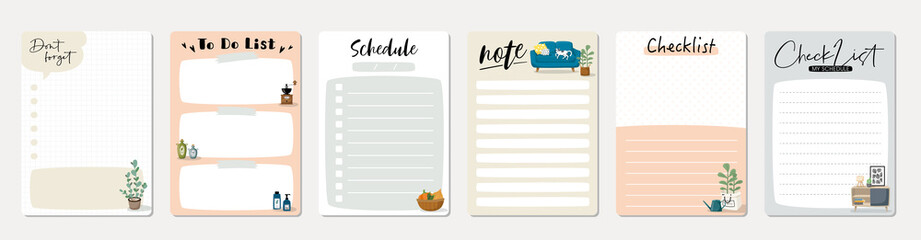 Fototapeta Set of planners and to do list with home interior decor illustrations. Template for agenda, schedule, planners, checklists, notebooks, cards and other stationery.