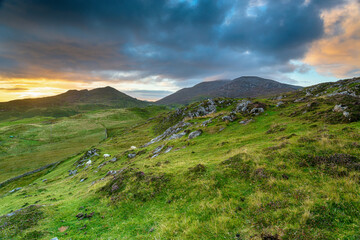 Wall Mural - Sunset over the hills ar Rodel on the Isle of Harris