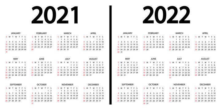 Calendar 2021-2022. The week starts on Sunday. 2021 and 2022 annual calendar template. 12 months yearly calendar set in 2021 and 2022 design in black and white colors