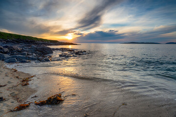 Wall Mural - Moody summer sunset over the beach at Bagh Steinigidh