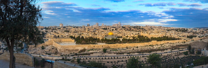 Beautiful panoramic view of Jerusalem's Old City from Mount of Olives: Temple Mount with Dome of the Rock, Al Aqsa mosque and Golden/Mercy Gate, the Kidron Valley and the southern and eastern wall