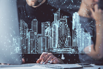 High tech city drawing with businessman working on computer on background. Smartcity concept. Double exposure.