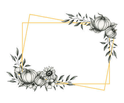 festive autumn frame with pumpkins and sunflower decorations, fall floral line art design, vintage autumnal design for thanksgiving, autumn cards or invitation